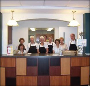 The entirely volunteer-run café at the Plainville Senior Center in Plainville, Connecticut connects with its community members by offering opportunities to run and participate in café operations.